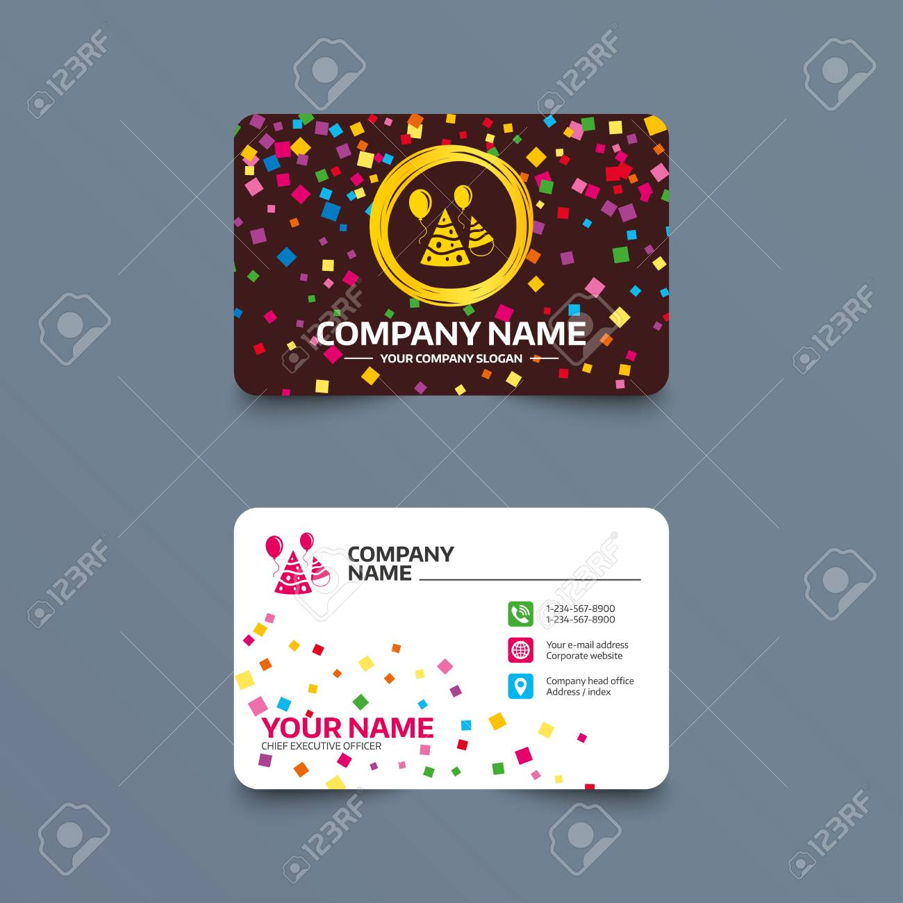 Business card template with confetti pieces party hat sign icon business card template with confetti pieces party hat sign icon birthday celebration symbol reheart Gallery