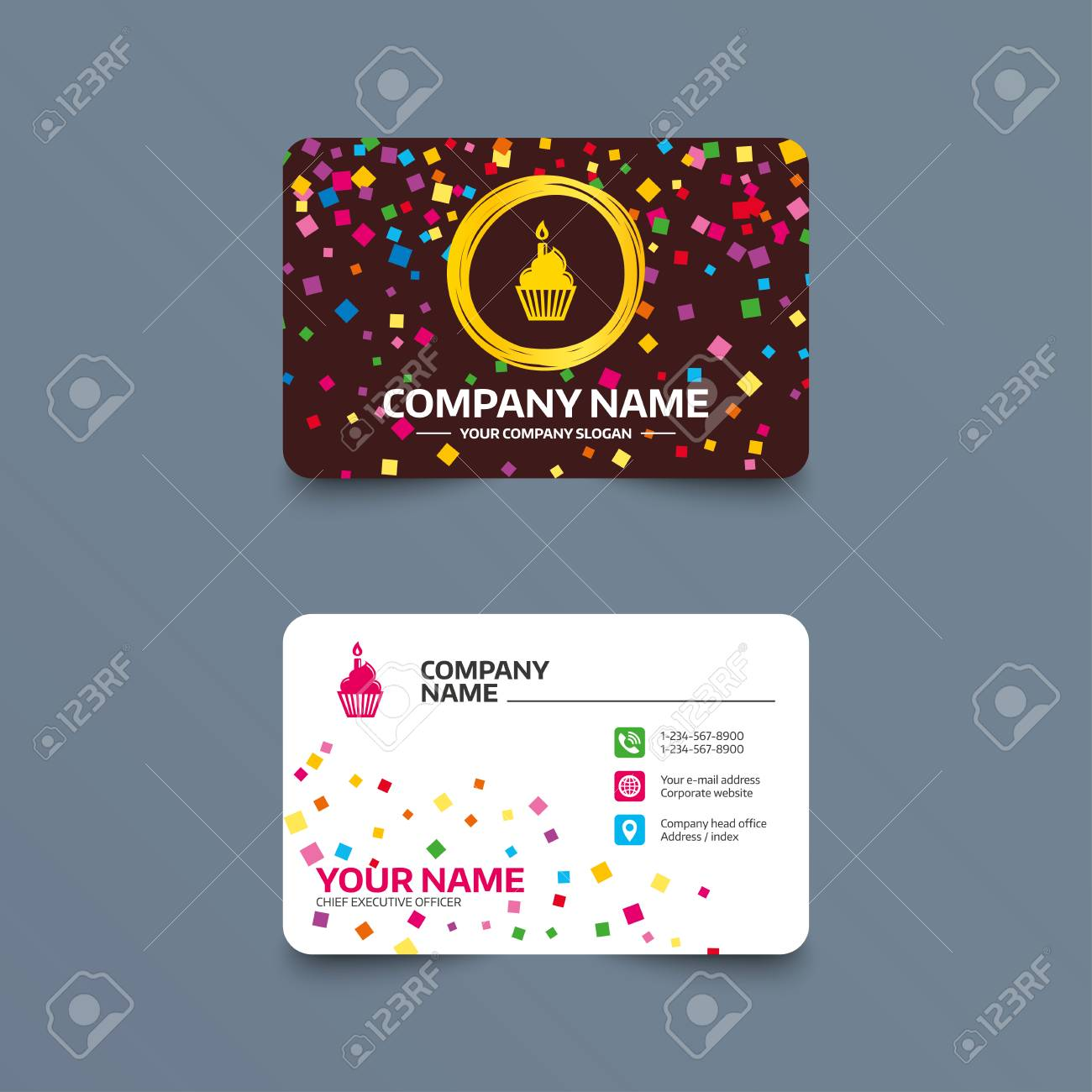 Business card template with confetti pieces birthday cake sign business card template with confetti pieces birthday cake sign icon cupcake with burning candle fbccfo Images