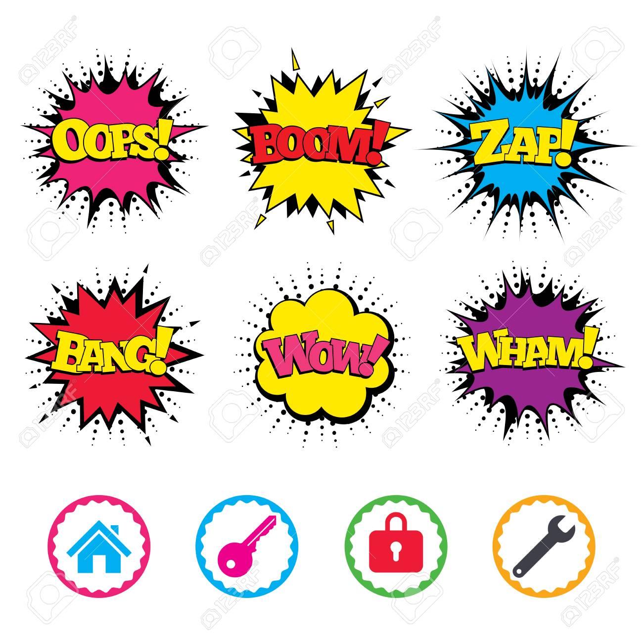 Comic Wow, Oops, Boom Und Wham Sound Effekte. Hauptsymbol ...