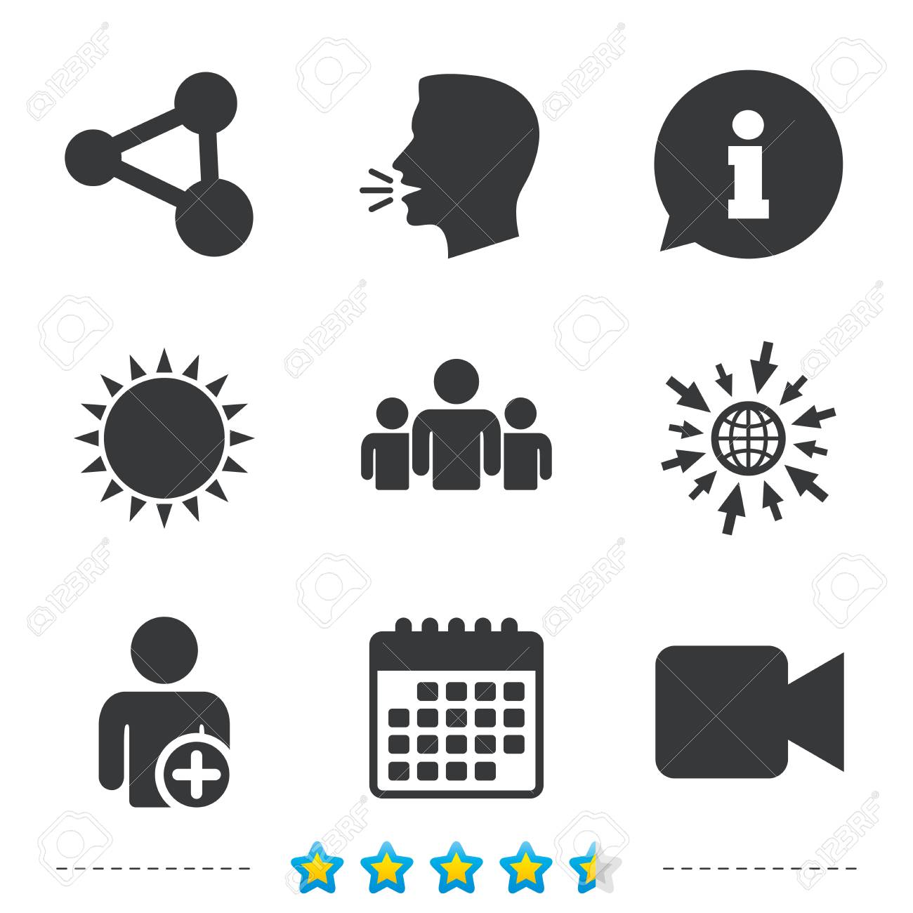 Group Of People And Share Icons Add User And Video Camera Symbols