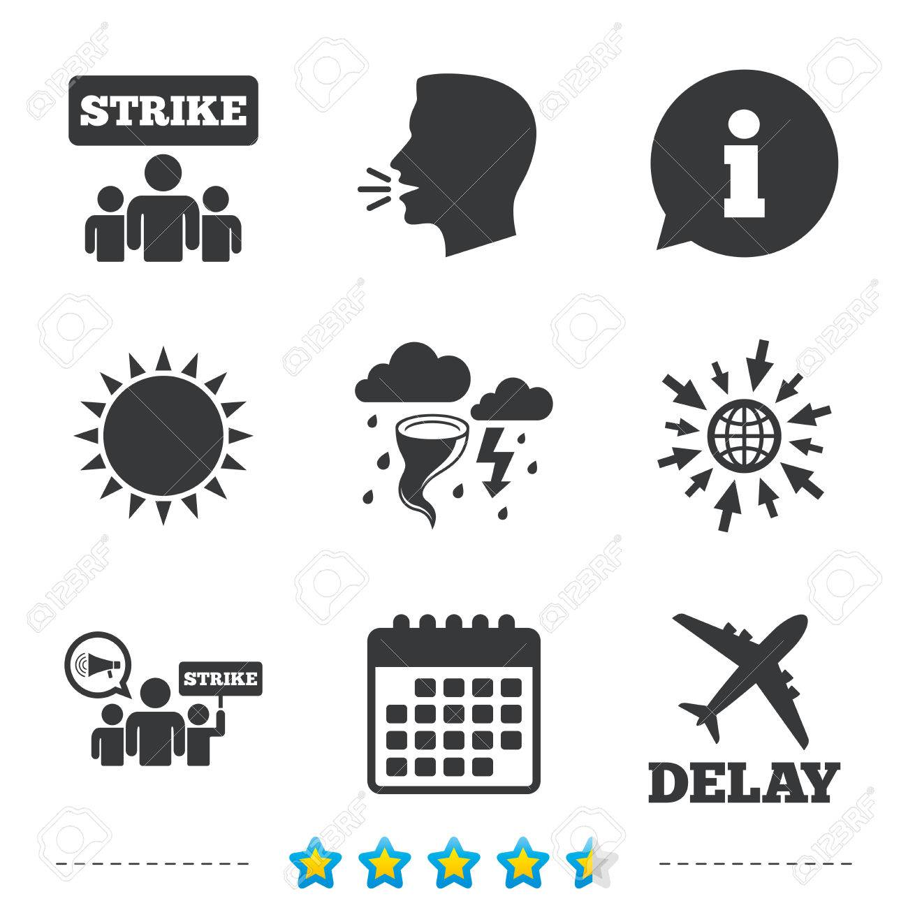 Strike icon  Storm bad weather and group of people signs  Delayed