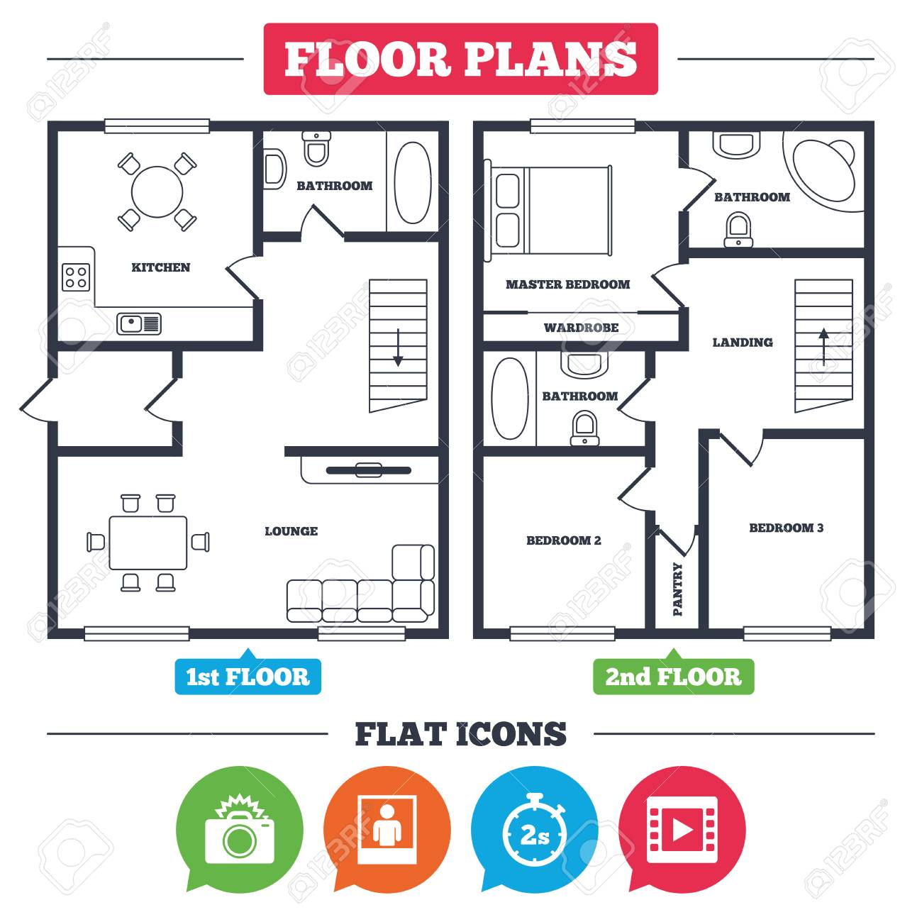 Lovely Architecture Plan With Furniture. House Floor Plan. Photo Camera Icon.  Flash Light And