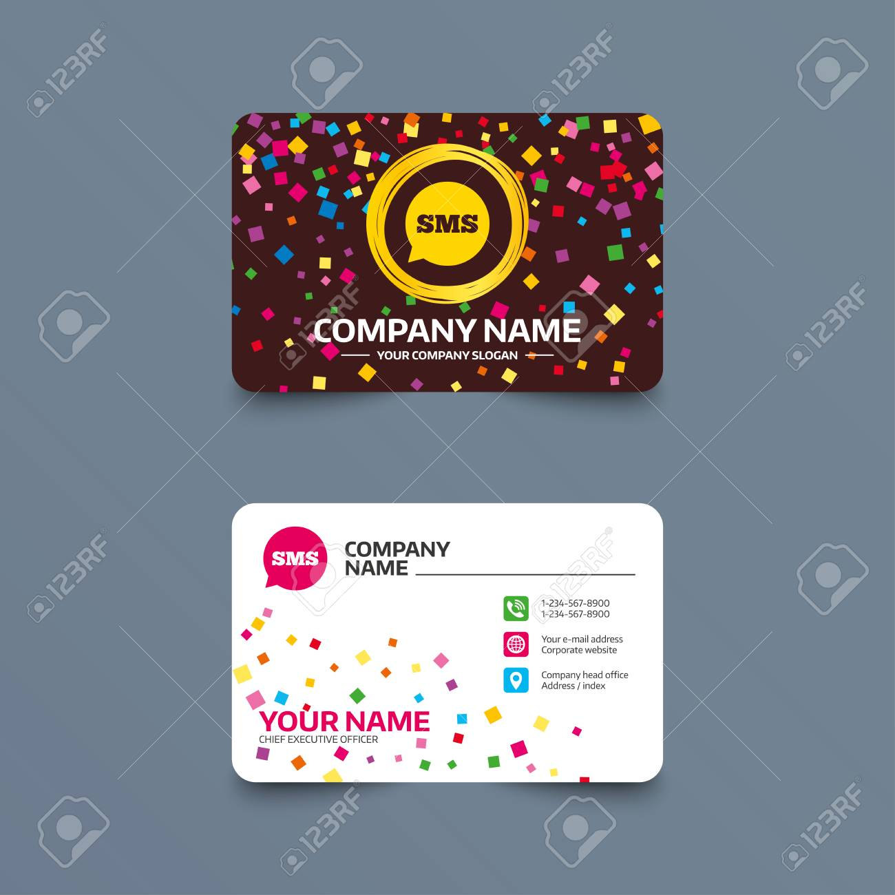 Business card template with confetti pieces sms speech bubble business card template with confetti pieces sms speech bubble icon information message symbol colourmoves