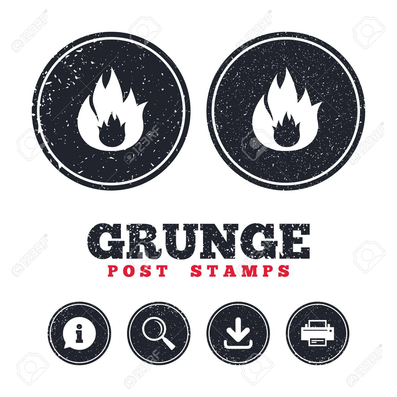 Grunge post stamps  Fire flame sign icon  Fire symbol  Stop fire