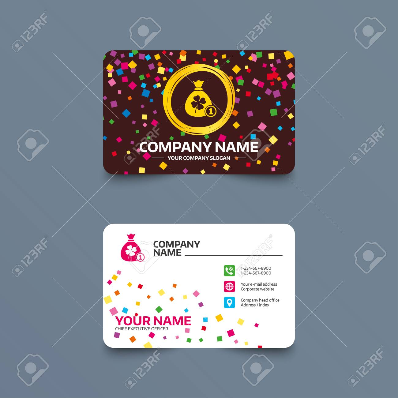 Business Card Template With Confetti Pieces. Money Bag With Clover ...
