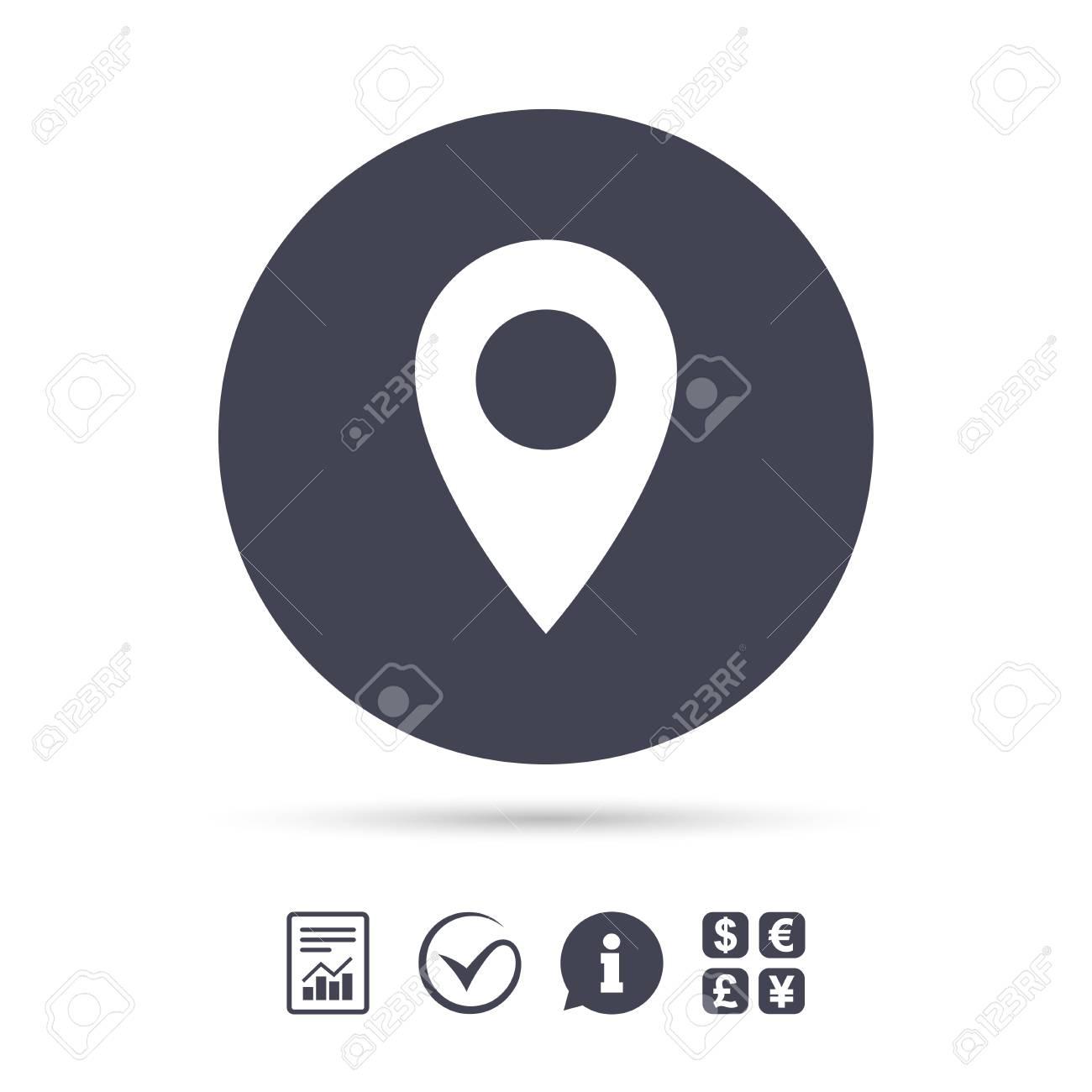Icône de pointeur de carte  Symbole de localisation GPS  Signaler le  document, l'information et cocher les icônes  Échange de devises  Vecteur