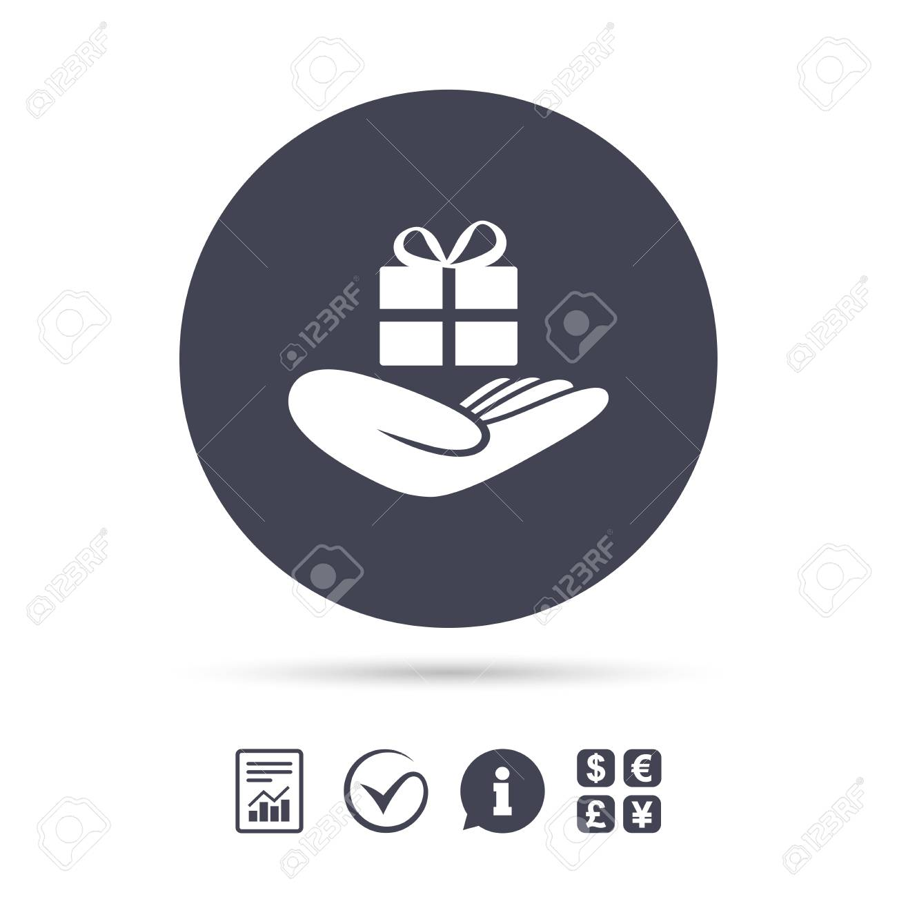 Give A Gift Sign Icon Hand Holds Present Box With Bow Report
