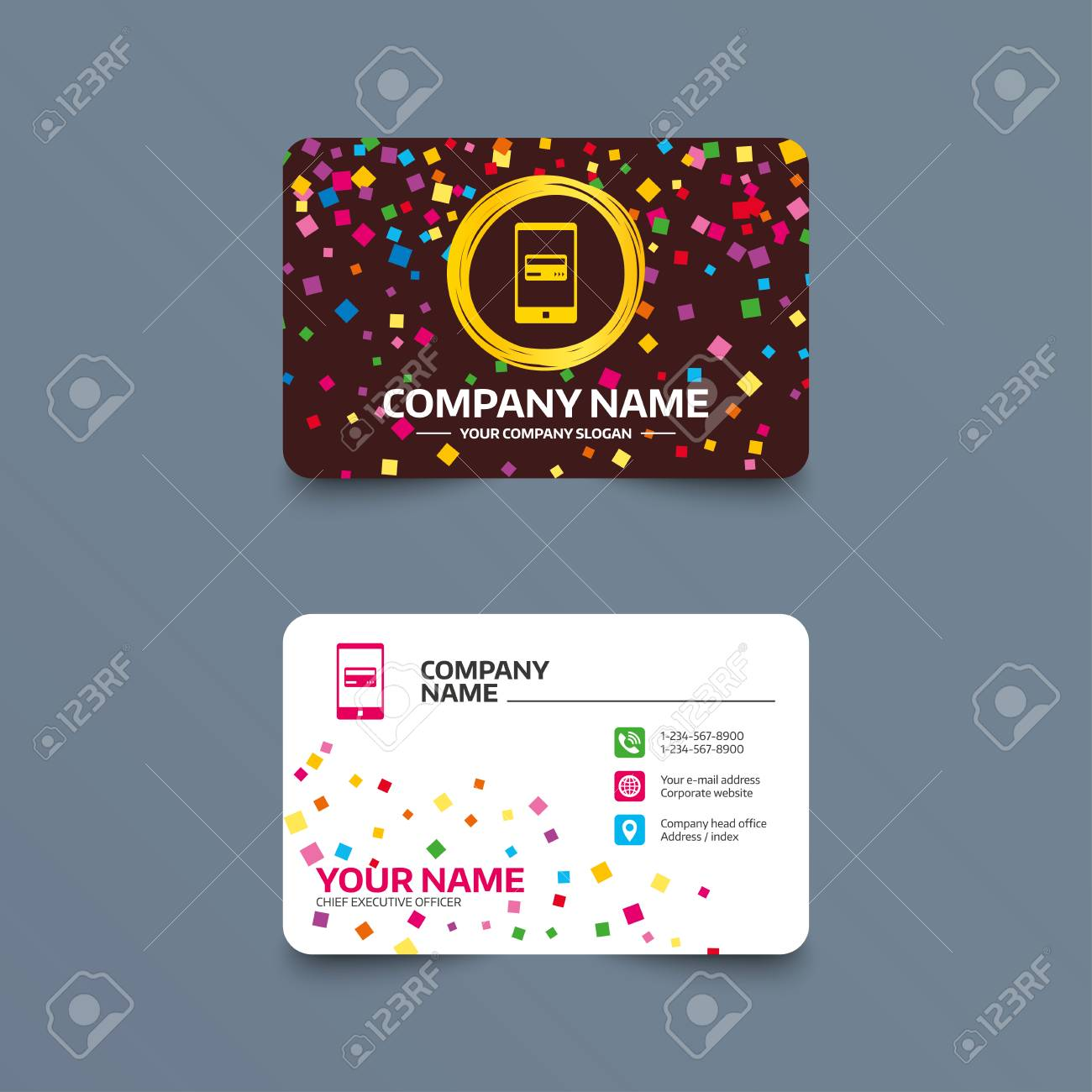 Business Card Template With Confetti Pieces Mobile Payments - Mobile business card template