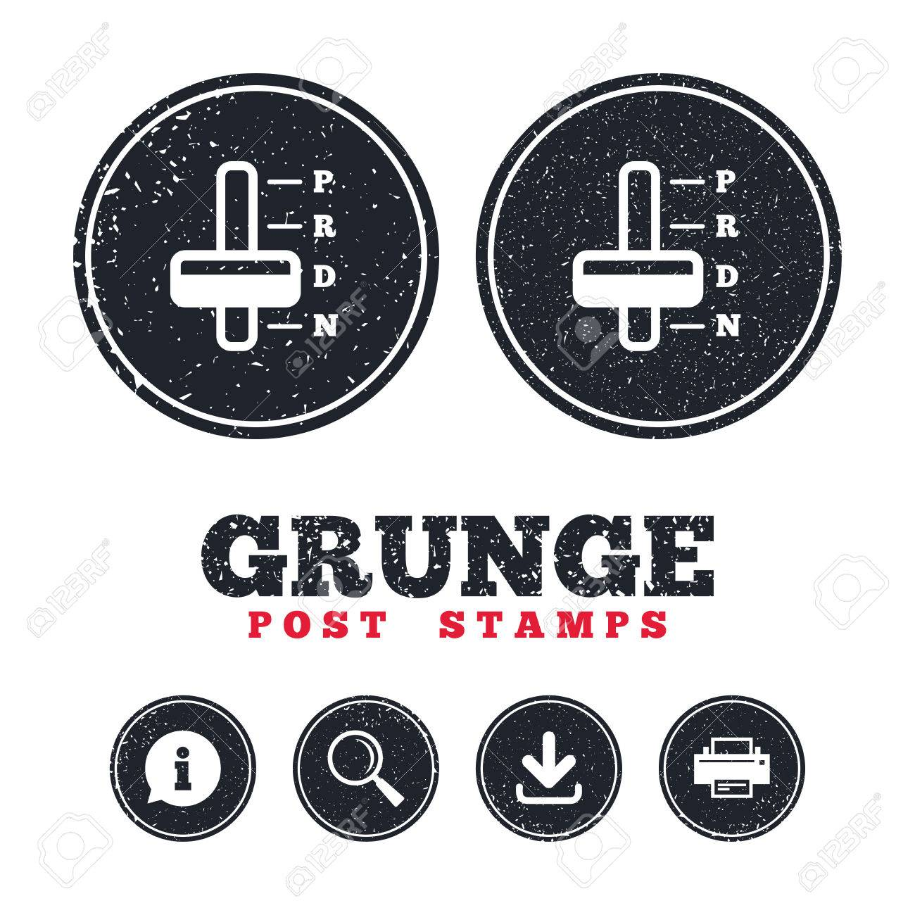 Grunge Post Stamps Automatic Transmission Sign Icon Auto Car