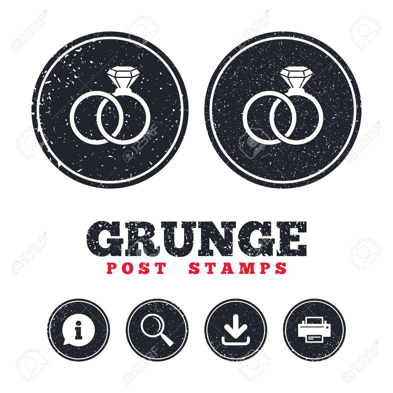 Grunge Post Stamps Wedding Rings Sign Icon Engagement Symbol