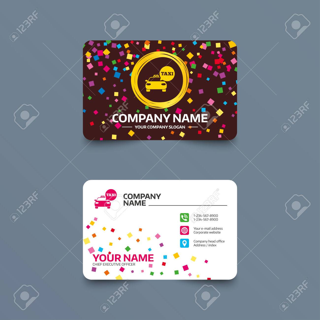 Business card template with confetti pieces taxi car sign icon business card template with confetti pieces taxi car sign icon public transport symbol reheart Gallery
