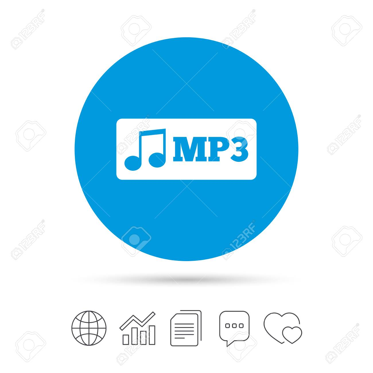 Mp3 music format sign icon  Musical symbol  Copy files, chat