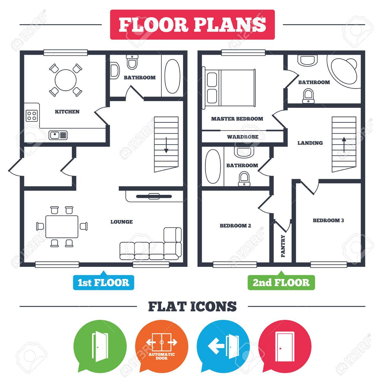 Architecture plan with furniture house floor plan automatic architecture plan with furniture house floor plan automatic door icon emergency exit with biocorpaavc Gallery