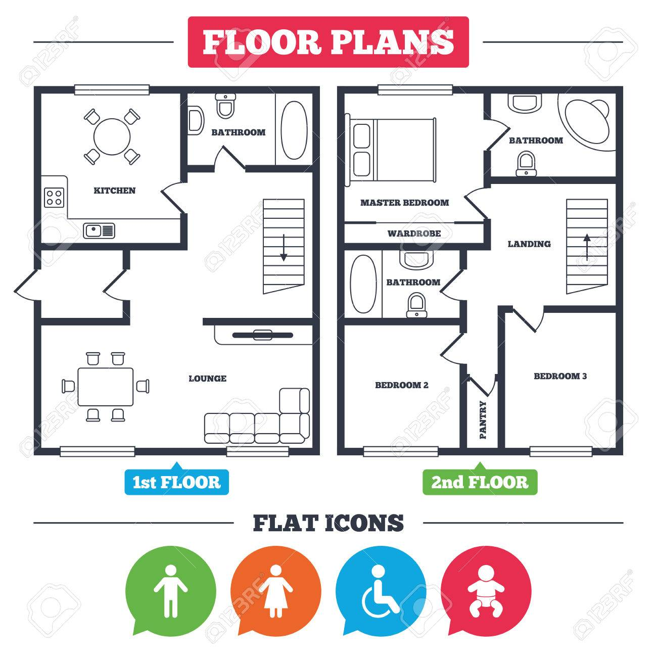 Architektur Plan Mit Möbeln. Hausgrundriss. WC-Symbole. Menschliche ...