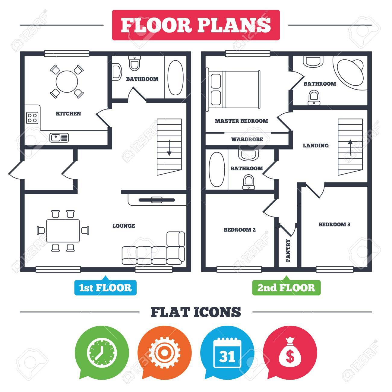 Architecture plan with furniture house floor plan business architecture plan with furniture house floor plan business icons calendar and mechanical clock buycottarizona Images