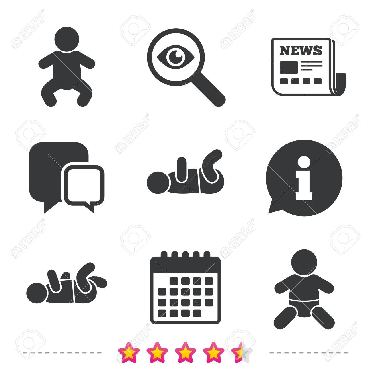 Iconos Recién Nacidos. Símbolos Del Bebé Infantil O Del Niño ...