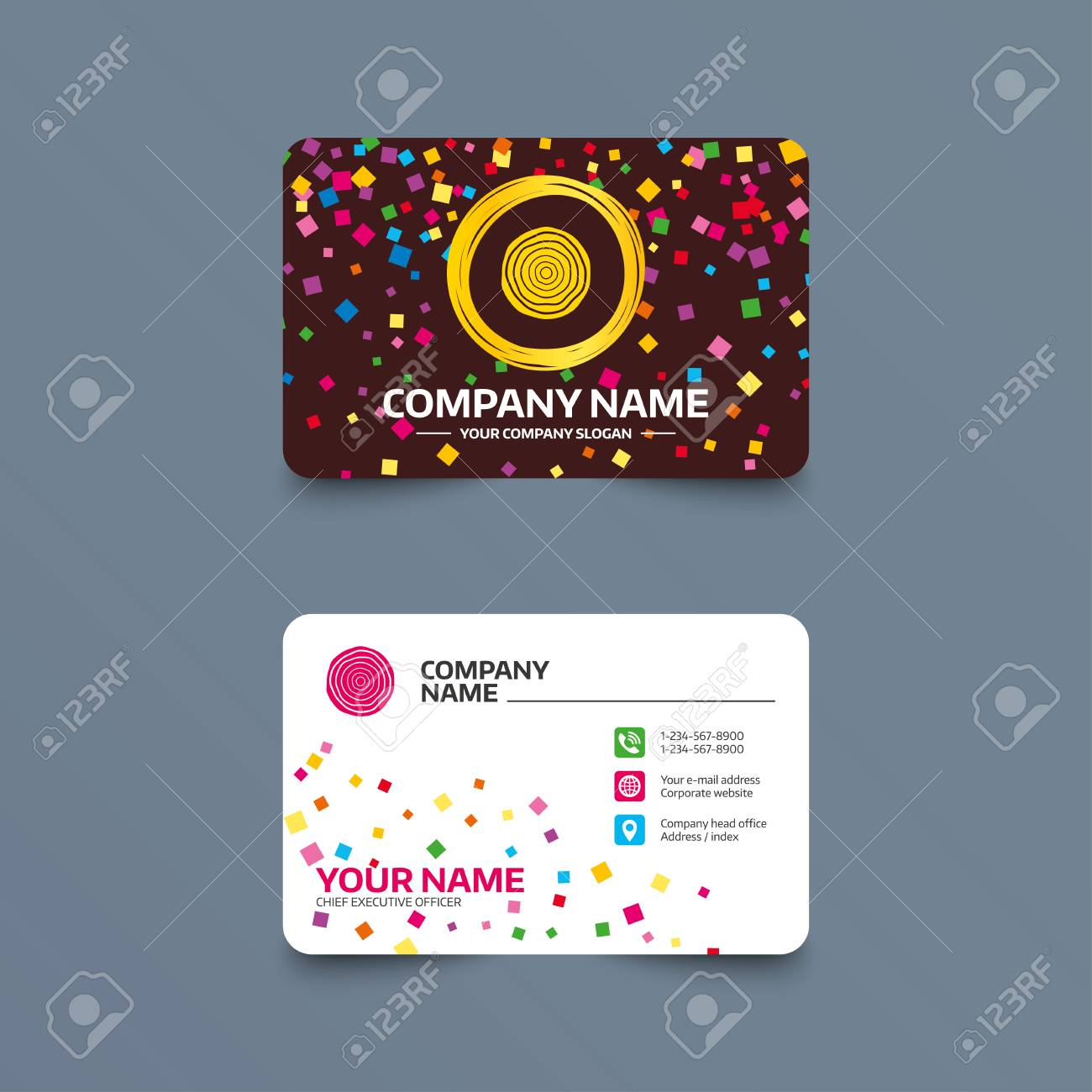Business Card Template With Confetti Pieces. Wood Sign Icon ...