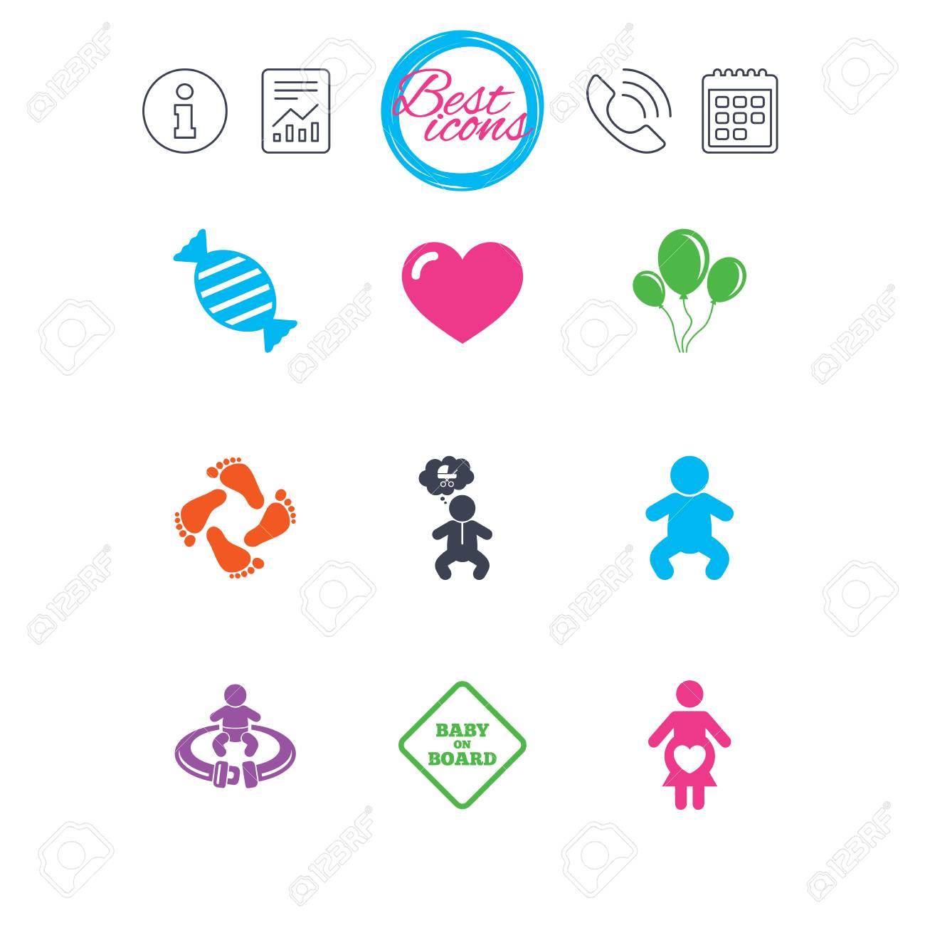 Calendario Maternita.Informazioni Segnalazioni E Segni Del Calendario Icone Di Gravidanza Maternita E Cura Del Bambino Caramelle Passeggini E Segni Di Cintura Di