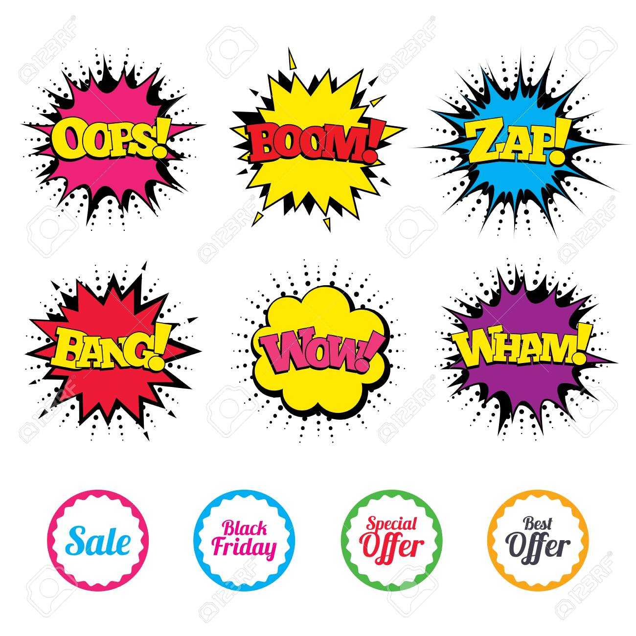 Comic Wow, Oops, Boom and Wham sound effects  Sale icons  Best