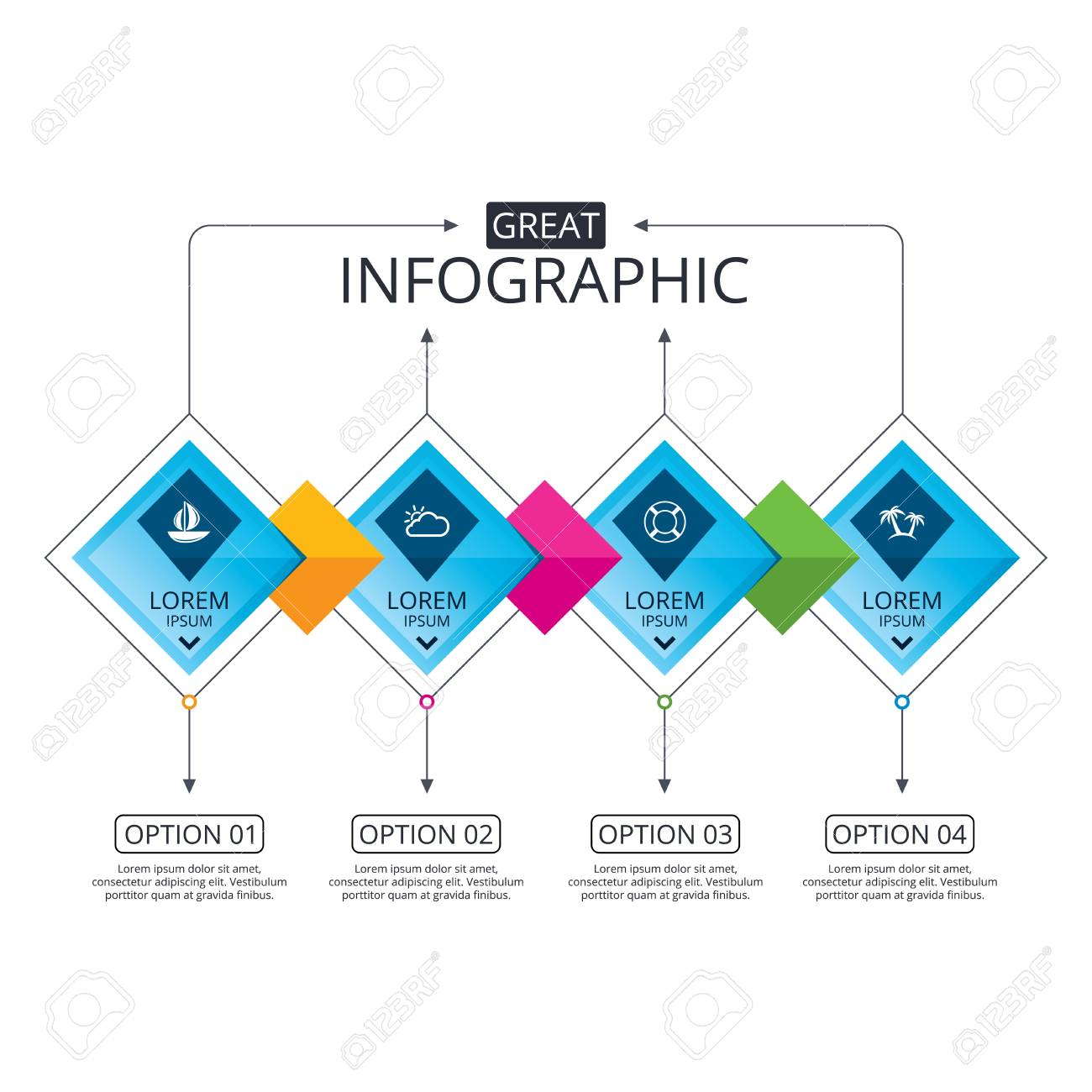 Infographic flowchart template  Business diagram with options