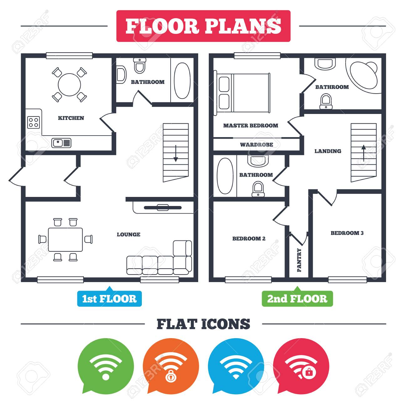 Architecture plan with furniture. House floor plan. Wifi Wireless Network  icons. Wi-