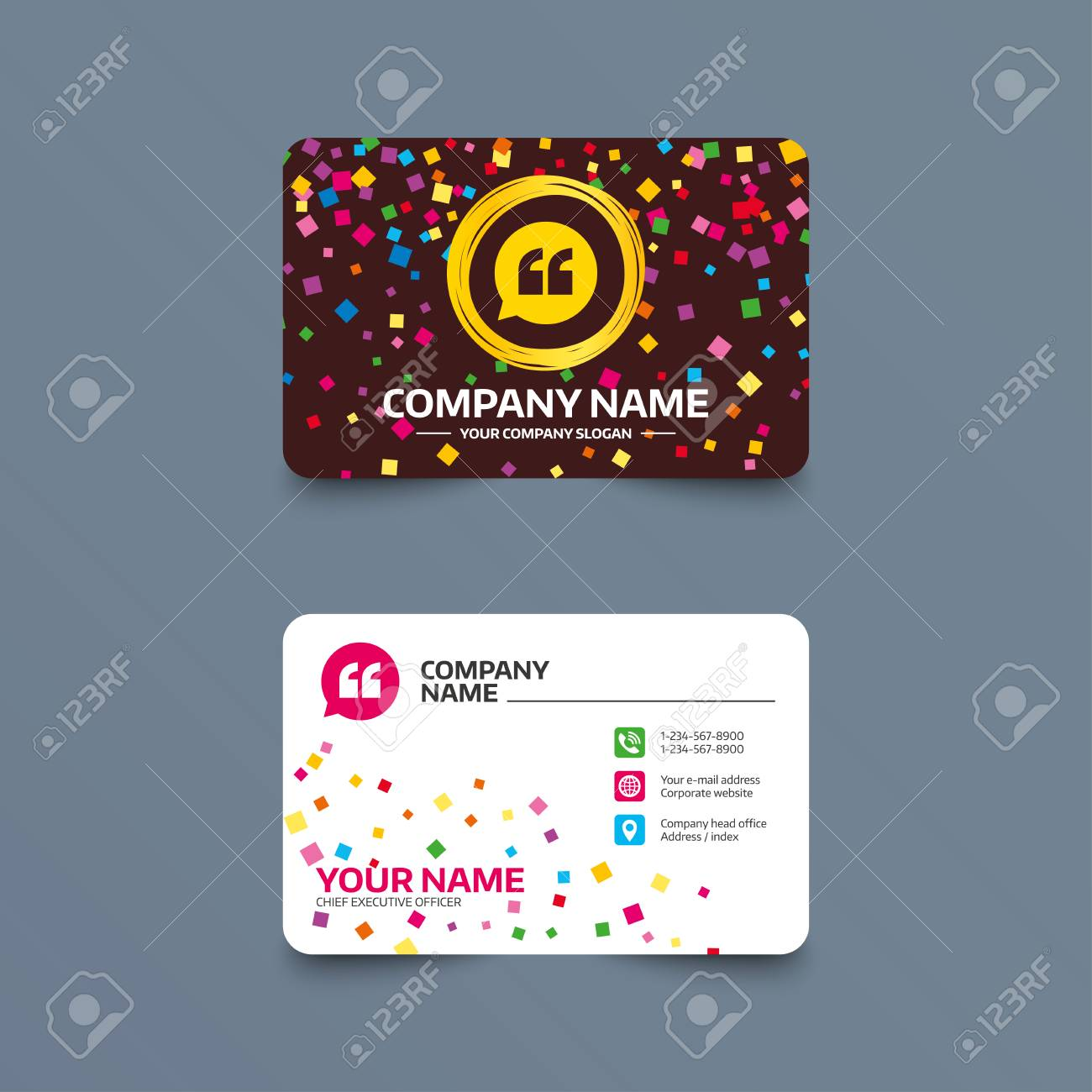Business Card Template With Confetti Pieces. Quote Sign Icon ...