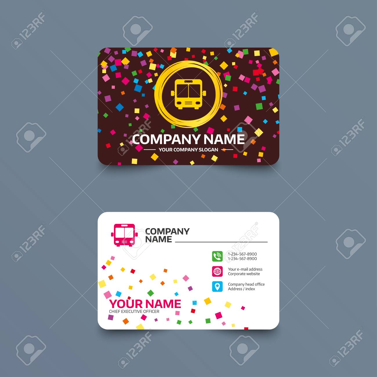 Business card template with confetti pieces bus sign icon public business card template with confetti pieces bus sign icon public transport symbol phone wajeb Choice Image