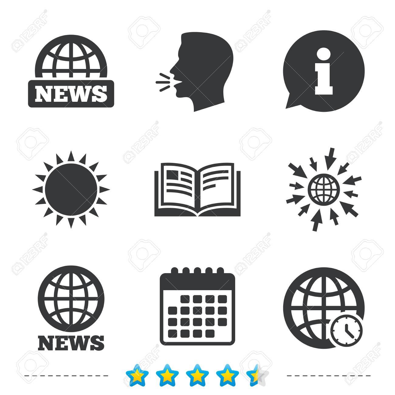 News Icons World Globe Symbols Open Book Sign Education