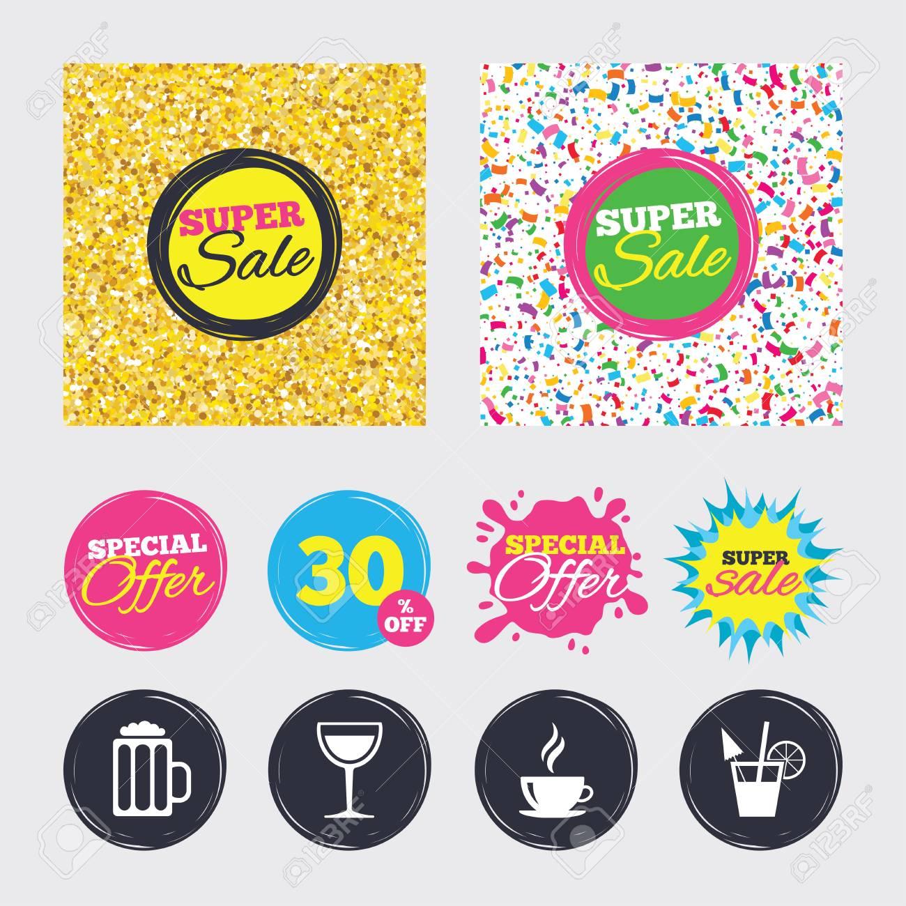 Gold Glitter Und Konfetti Hintergrnde Abdeckungen Poster Flyer Design Getrnke Symbole