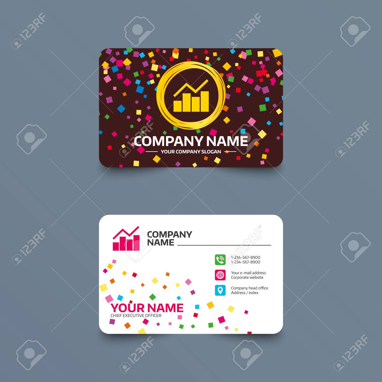 Business card template with confetti pieces graph chart sign business card template with confetti pieces graph chart sign icon diagram symbol statistics colourmoves