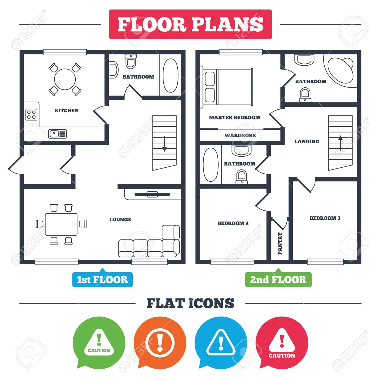 Architecture Plan With Furniture. House Floor Plan. Attention Caution  Icons. Hazard Warning Symbols