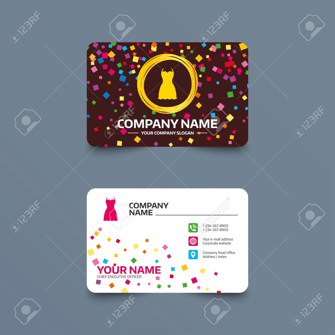 Business Card Template With Confetti Pieces. Woman Dress Sign Icon ...