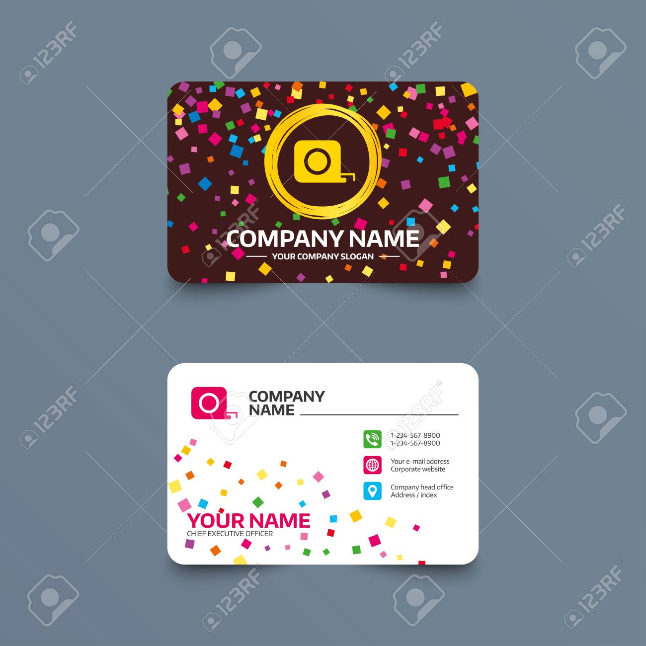 Business Card Template With Confetti Pieces. Roulette Construction ...