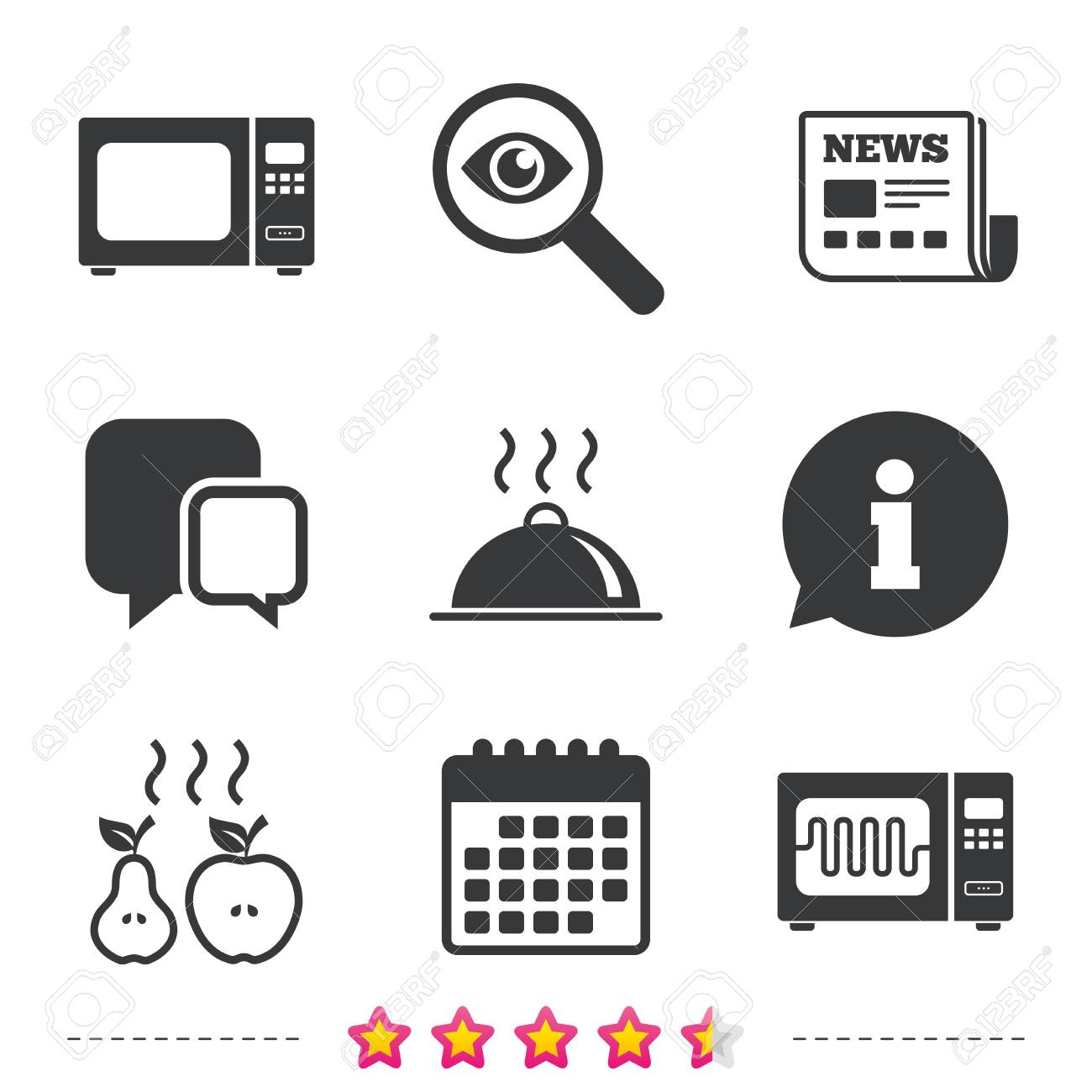 Microwave Grill Oven Icons Cooking Apple And Pear Signs Food