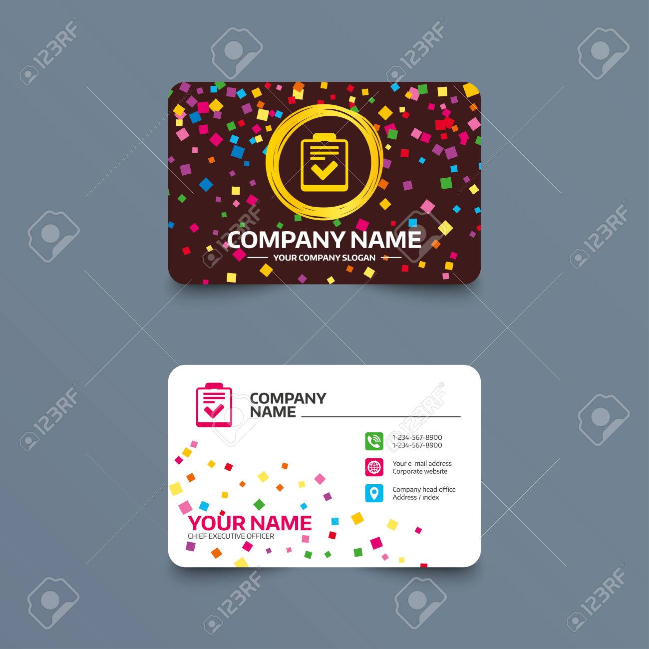 Business card template with confetti pieces checklist sign icon business card template with confetti pieces checklist sign icon control list symbol survey reheart Choice Image