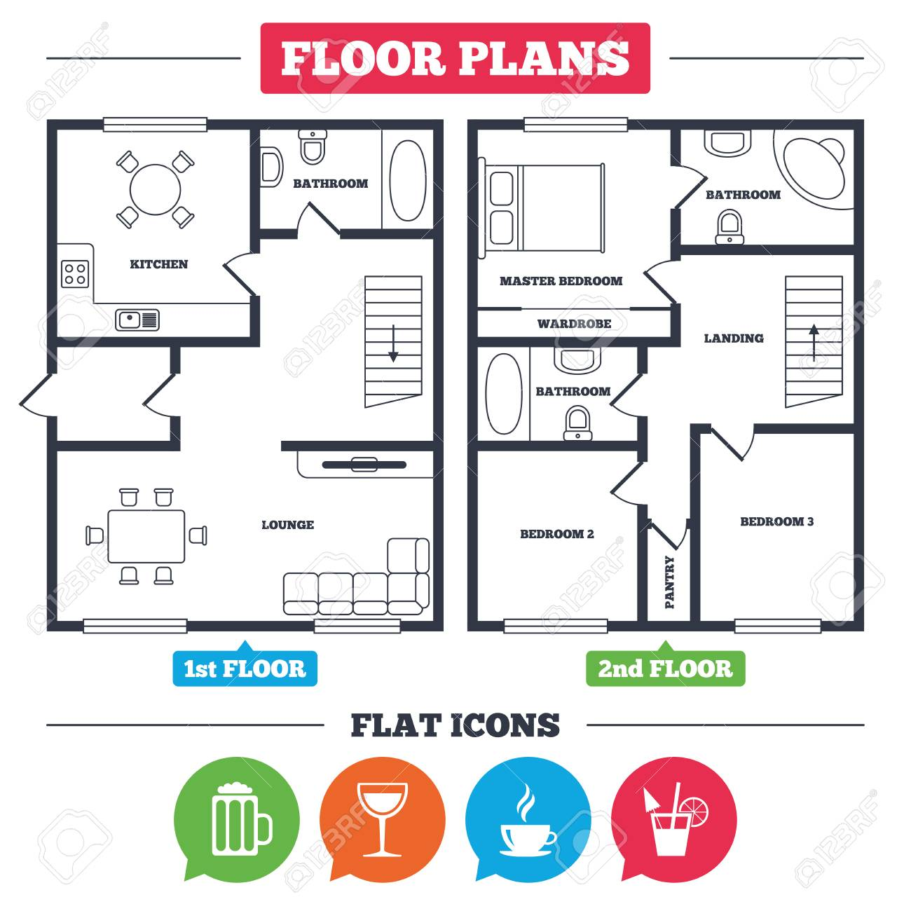 Architecture Plan With Furniture House Floor Plan Drinks Icons