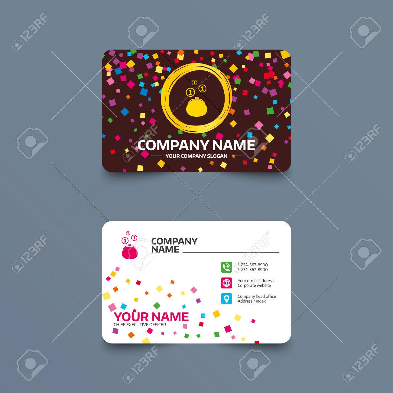 Business card template with confetti pieces wallet sign icon business card template with confetti pieces wallet sign icon cash coins bag symbol pronofoot35fo Images