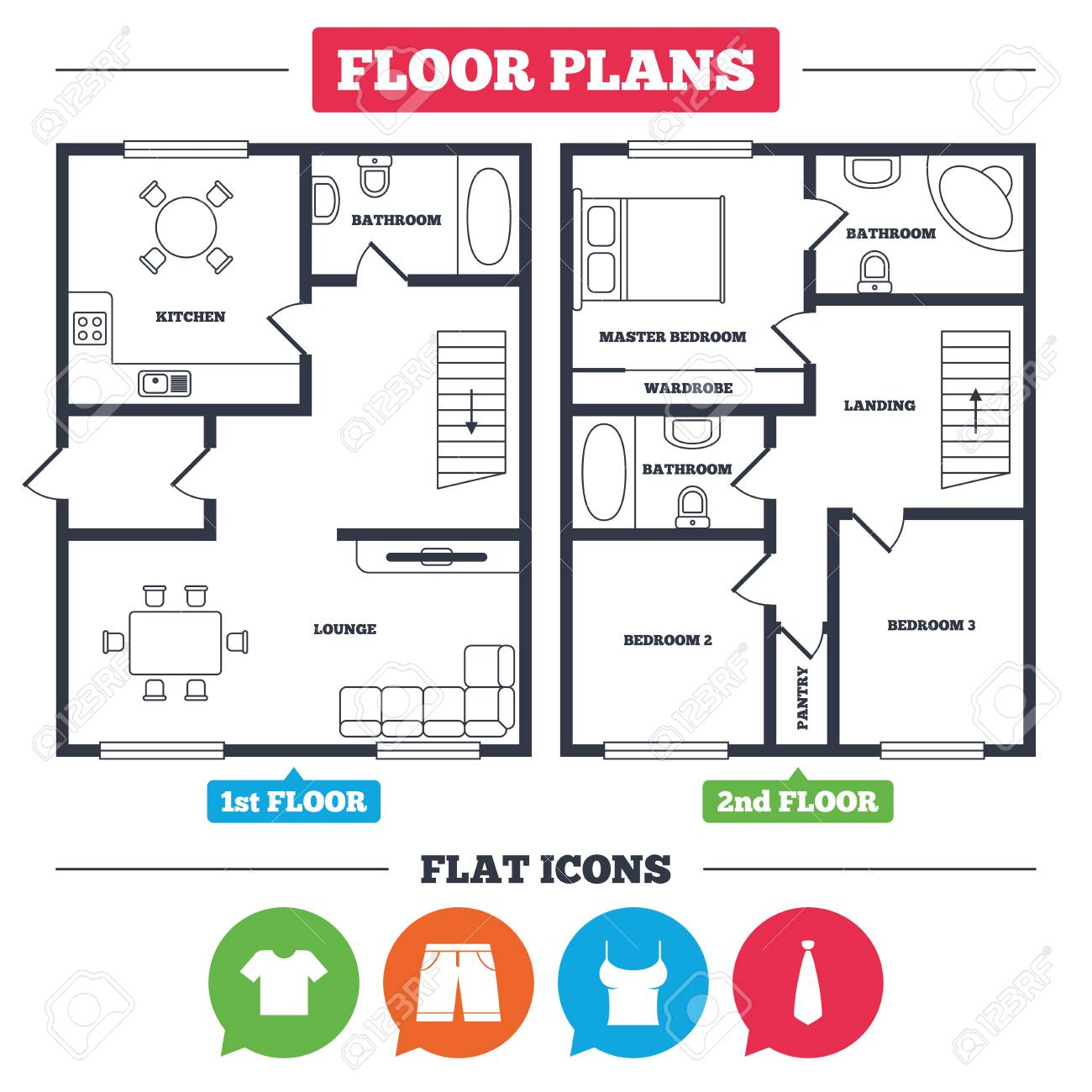 Architecture plan with furniture house floor plan clothes icons t shirt and