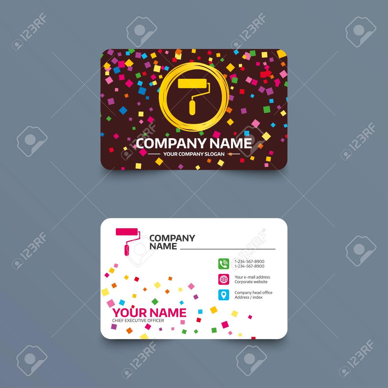 Business card template with confetti pieces paint roller sign business card template with confetti pieces paint roller sign icon painting tool symbol colourmoves