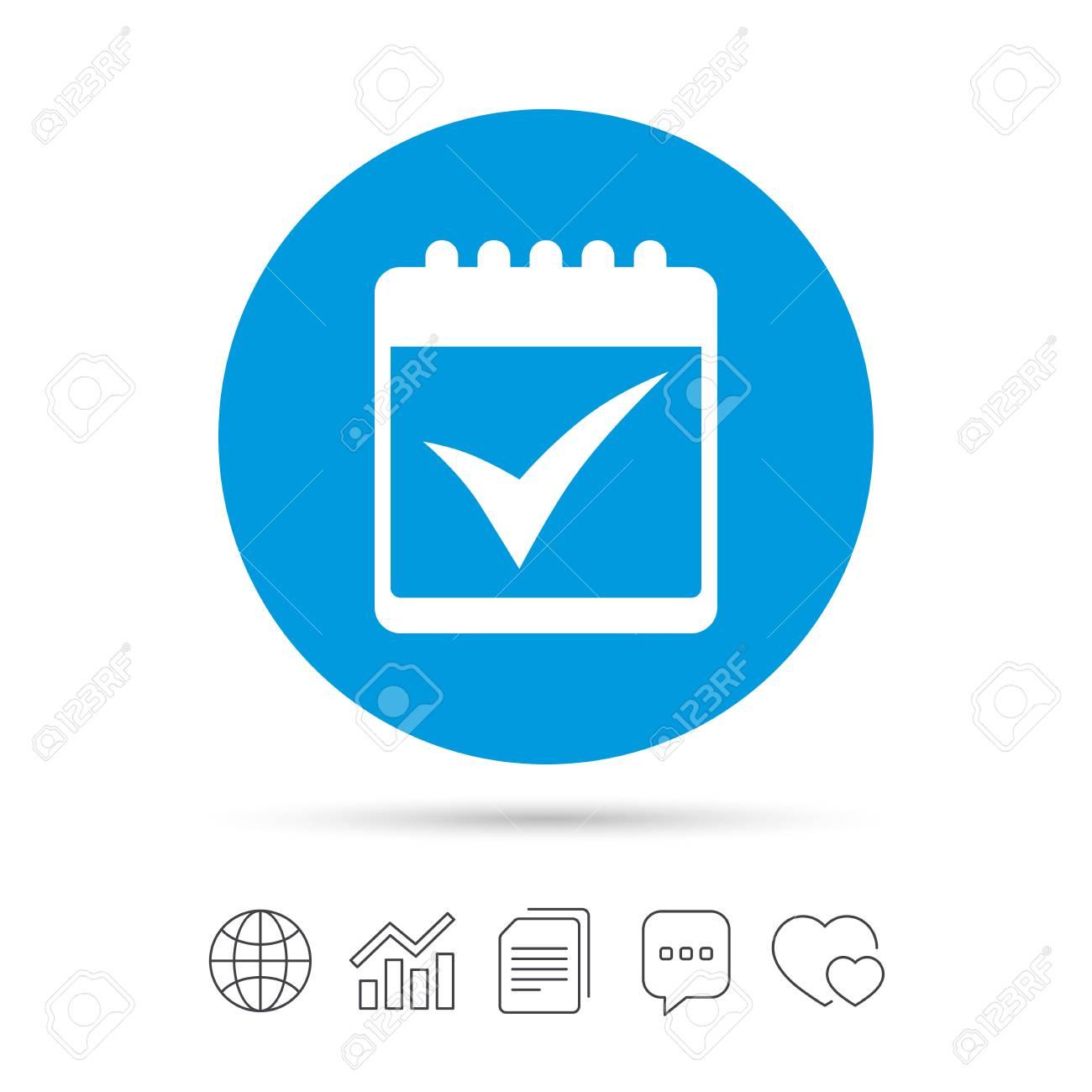 Calendar Sign Icon Check Mark Symbol Copy Files Chat Speech