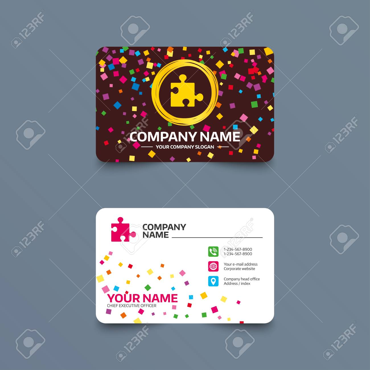 Business card template with confetti pieces puzzle piece sign business card template with confetti pieces puzzle piece sign icon strategy symbol phone colourmoves