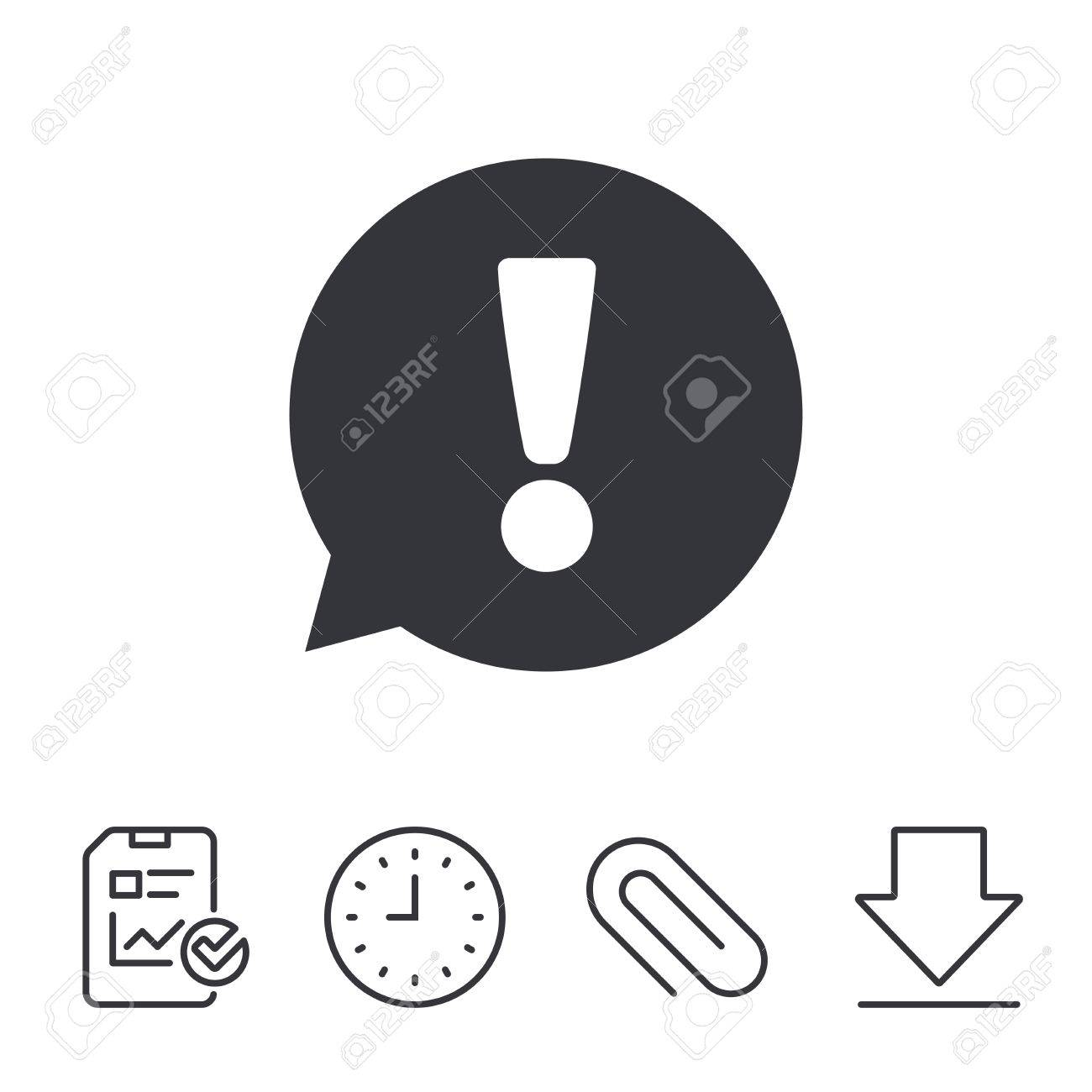 Exclamation mark sign icon attention speech bubble symbol report exclamation mark sign icon attention speech bubble symbol report time and download line biocorpaavc