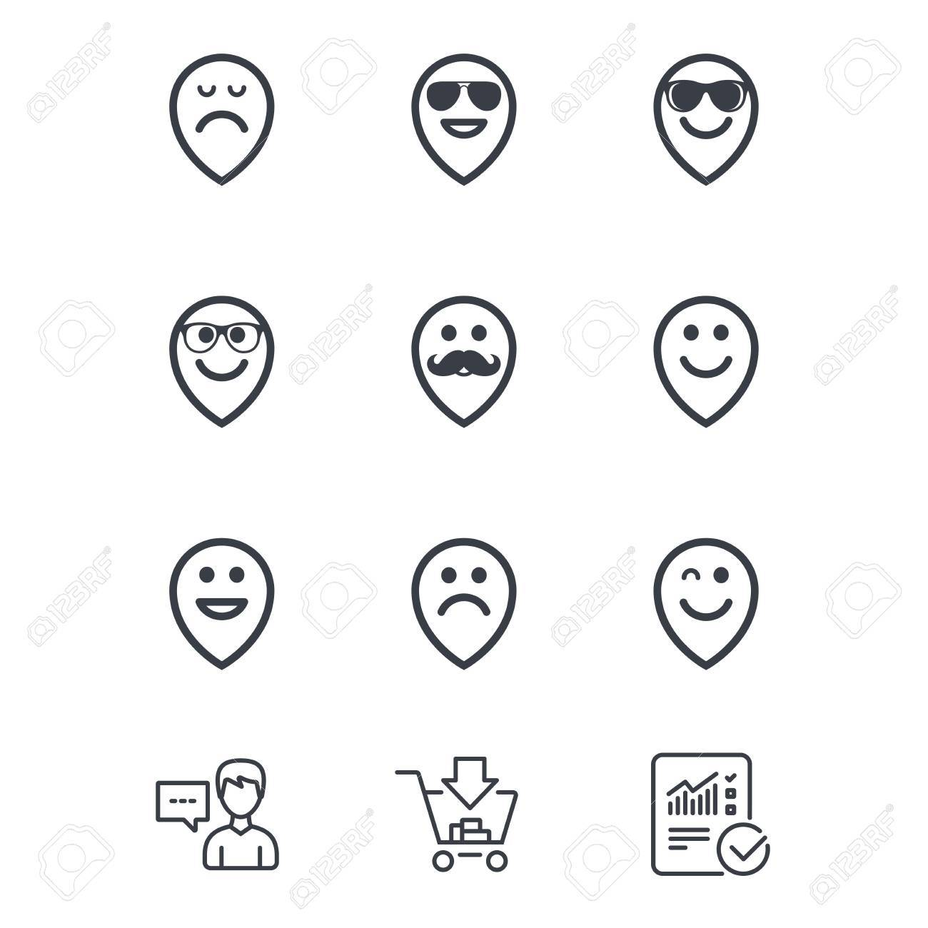 Smile pointers icons  Happy, sad and wink faces signs  Sunglasses,