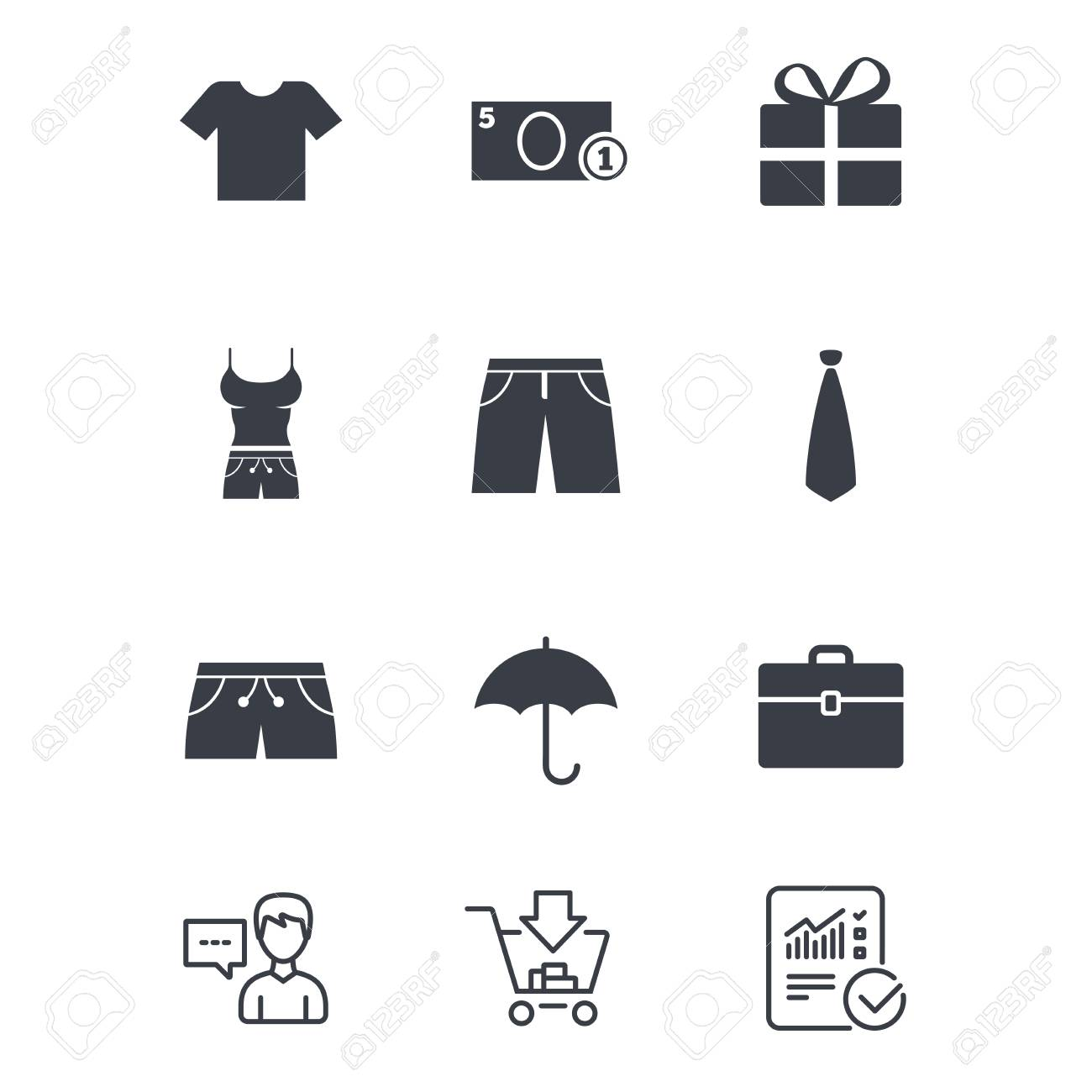 Clothing, accessories icons  T-shirt, business case signs  Umbrella
