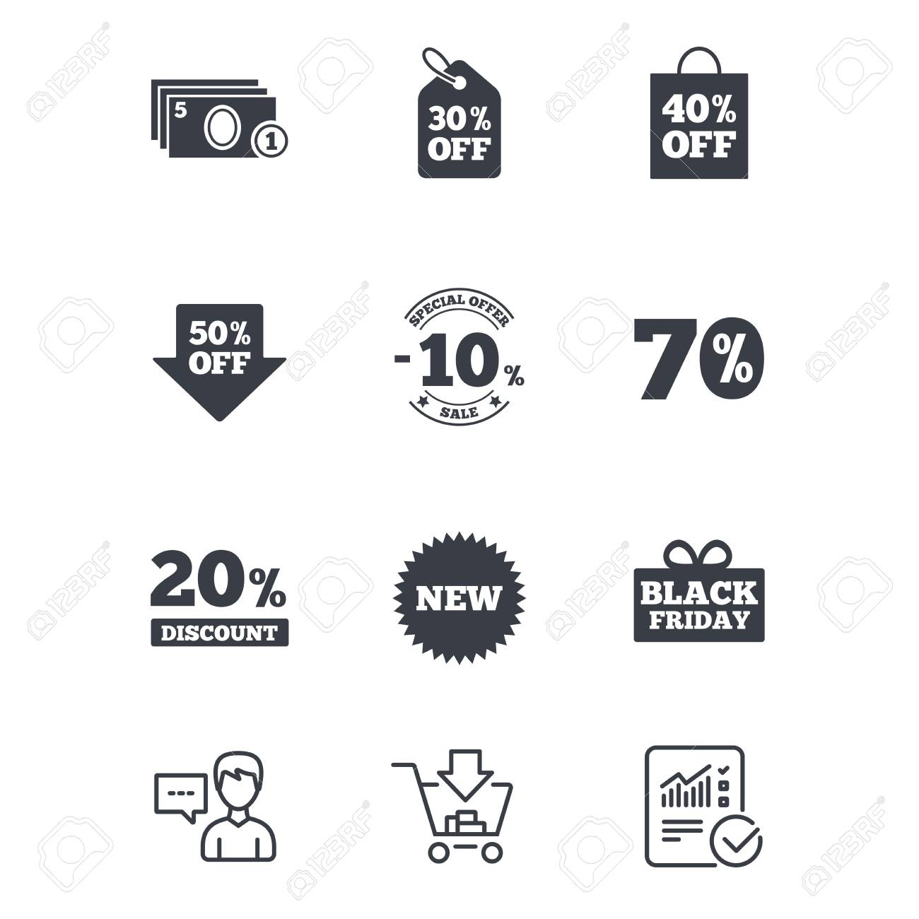 Sale discounts icon shopping black friday and cash money signs shopping black friday and cash money signs 10 20 biocorpaavc Choice Image