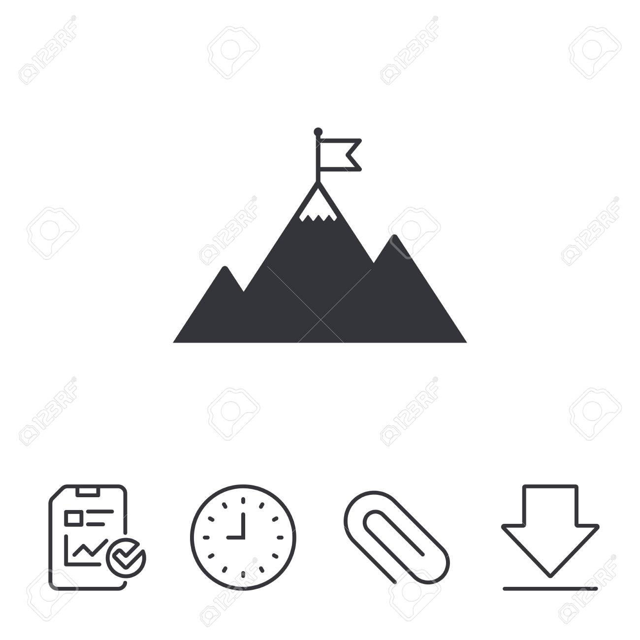 Flag On Mountain Icon Leadership Motivation Sign Mountaineering Royalty Free Cliparts Vectors And Stock Illustration Image 80473505