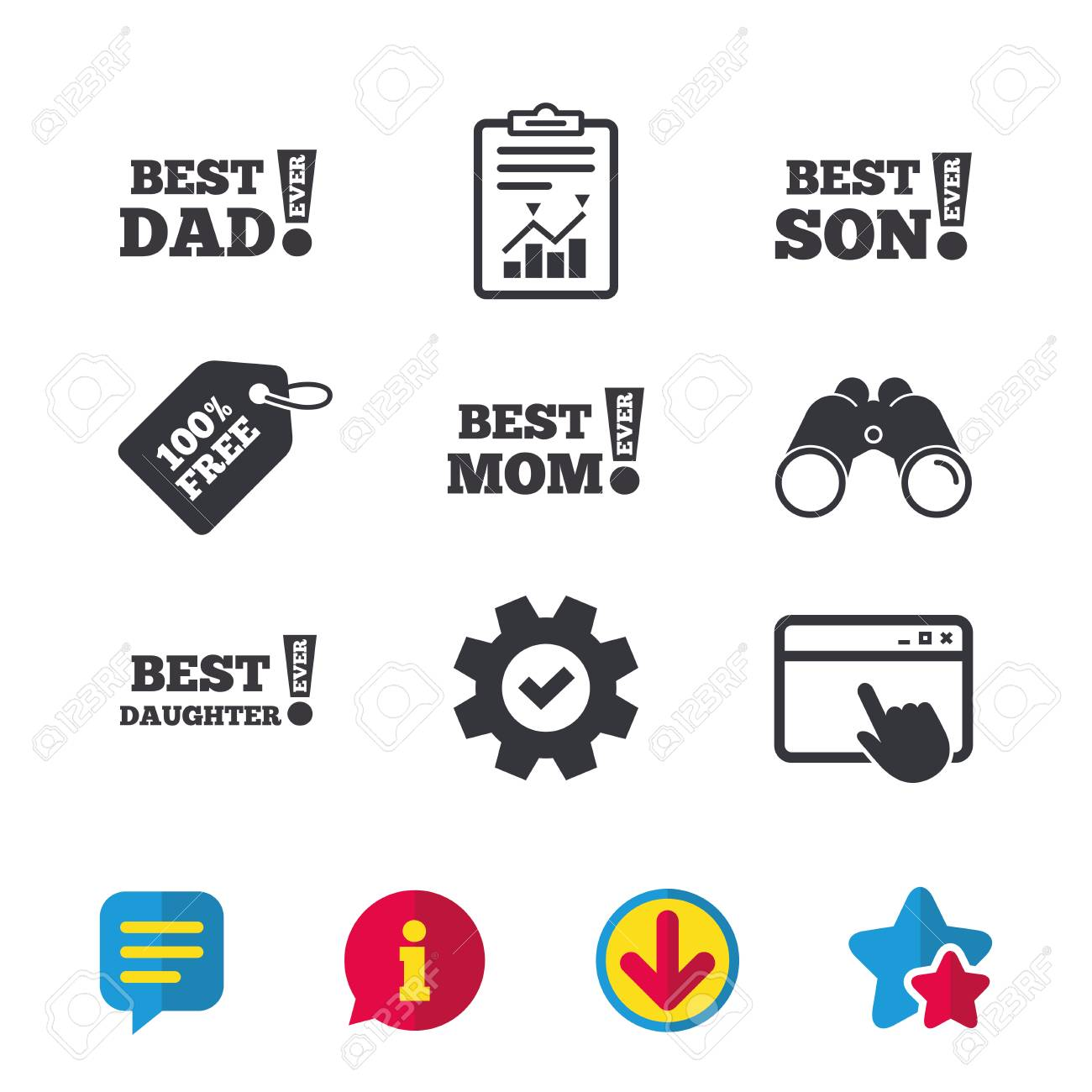 Best mom and dad son and daughter icons awards with exclamation best mom and dad son and daughter icons awards with exclamation mark symbols biocorpaavc