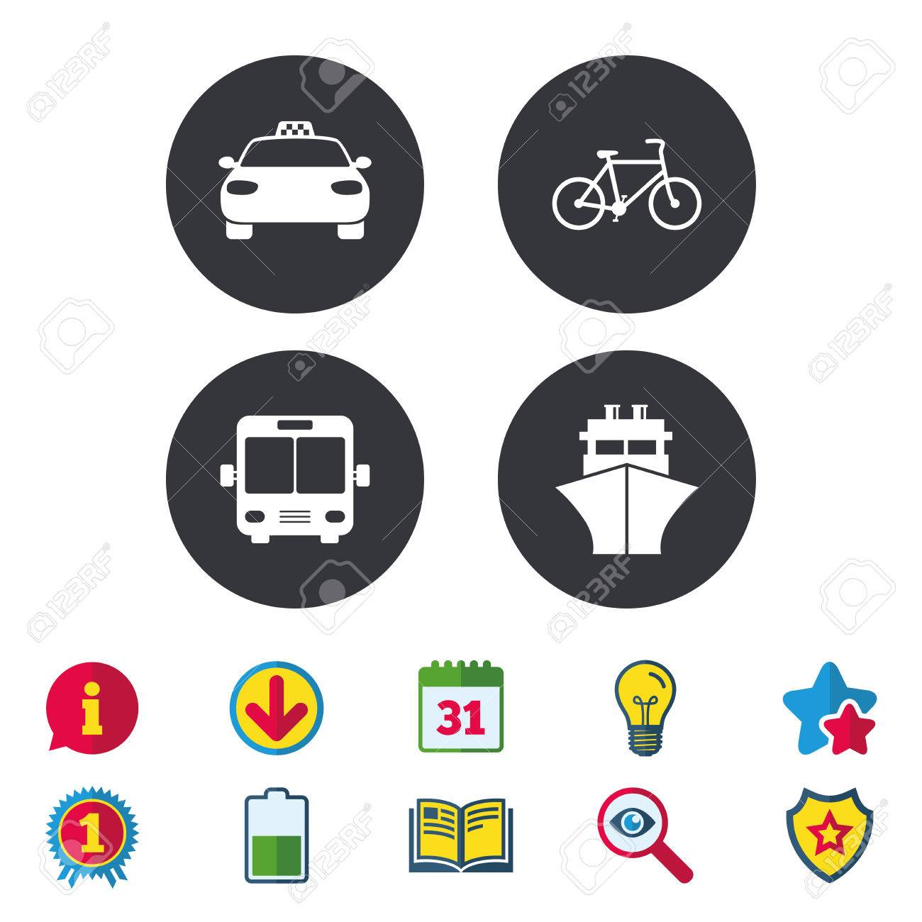 Transport Icons Taxi Car Bicycle Public Bus And Ship Signs