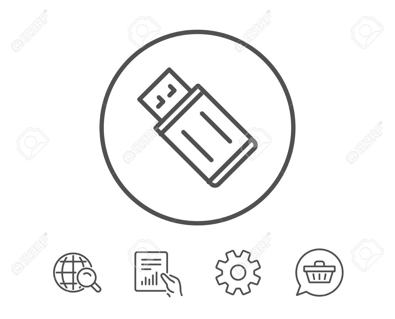 USB flash drive line icon  Memory stick sign  Portable data storage