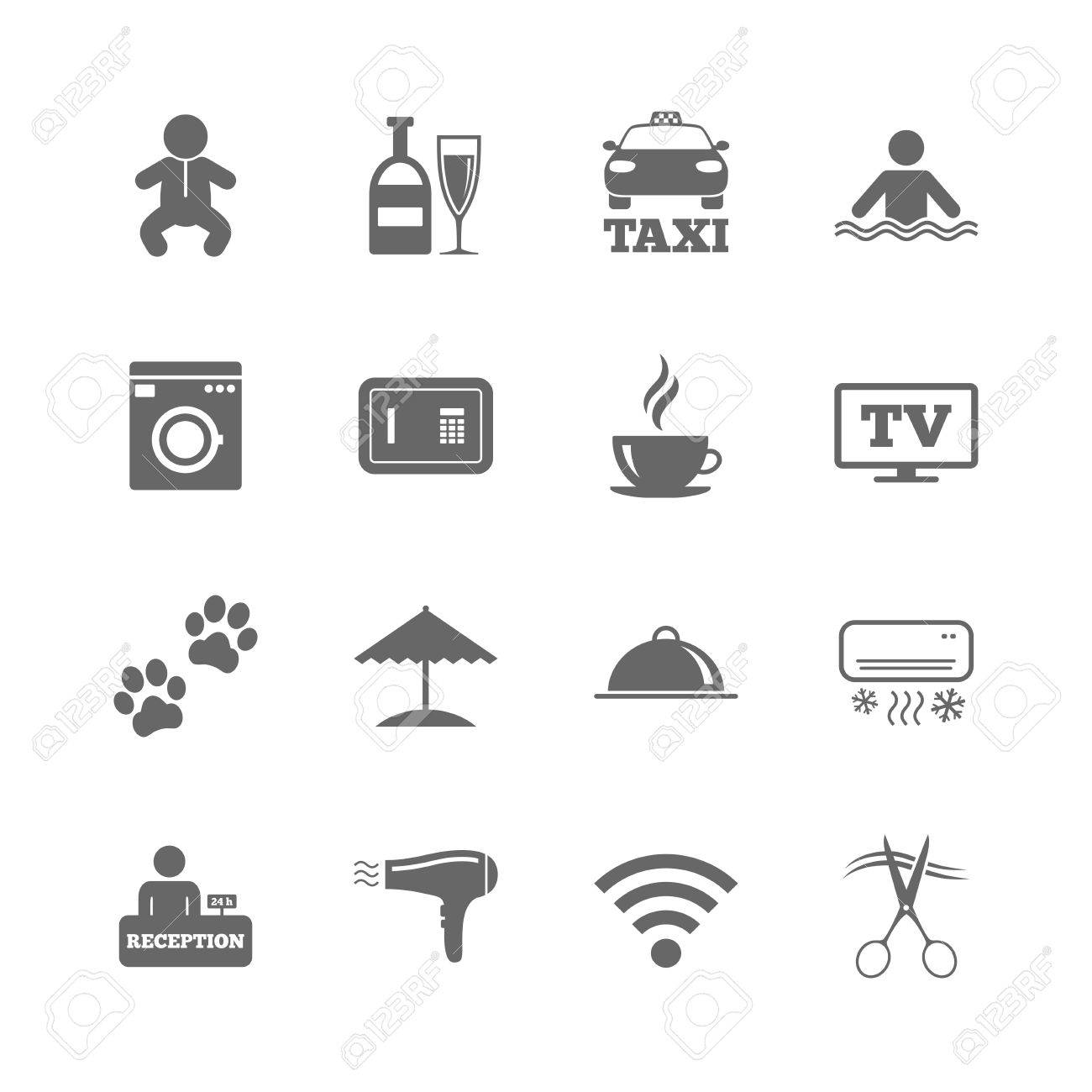 d9b225b6d653 Set Of Hotel Services Icons. Taxi, Wifi Internet And Swimming ...